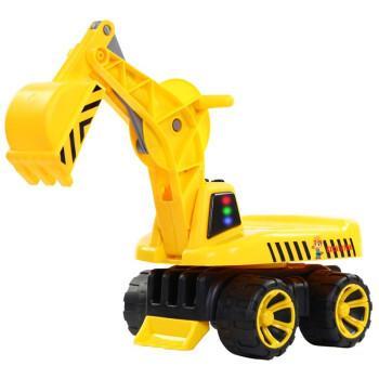 仿真小孩勾机大号四轮挖机车模型 黄色滑行可做人挖掘机(带灯光音乐)