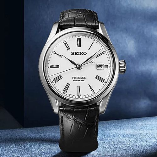 精工seiko手表日本原装进口珐琅表盘鳄鱼皮表带机械表