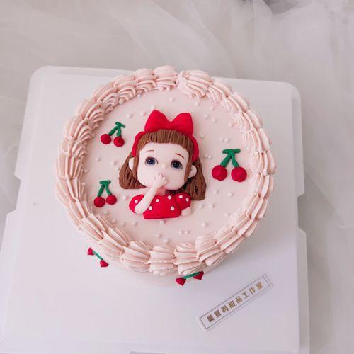 网红蛋糕装饰摆件软陶小女孩生日蛋糕装饰摆件插件
