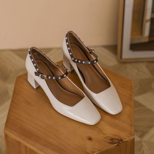 全牛皮2021新款方头一字扣带女单鞋浅口珍珠玛丽珍鞋