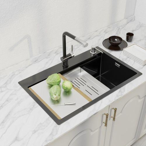 纳米水槽304不锈钢水槽大单槽厨房阶梯式加厚水槽台下洗菜盆水池洗碗
