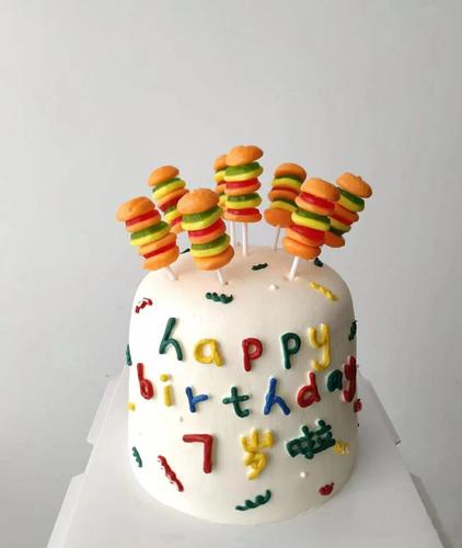 网红卡通生日蛋糕装饰汉堡糖蛋糕装饰插牌插件串串汉堡装饰20只