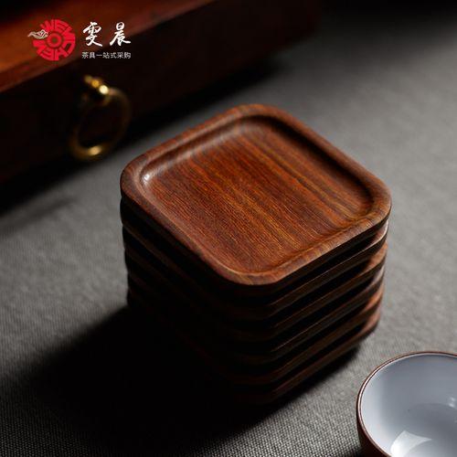 雯晨 茶杯垫茶道杯托红檀木功夫茶具配件实木隔热品茗