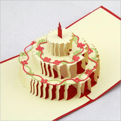 立体生日贺卡花朵蛋糕卡片商务创意卡片批量定制打印祝福语