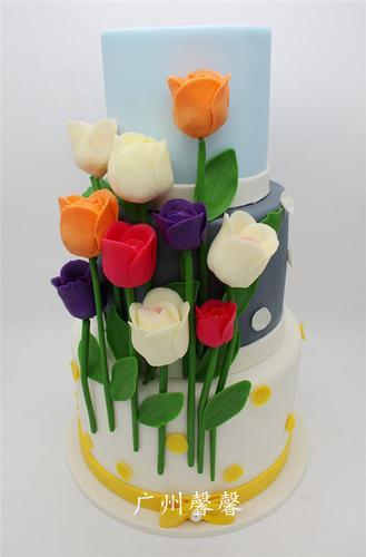 广州馨馨高端新款三层翻糖裱花仿真蛋糕翻糖生日鲜花