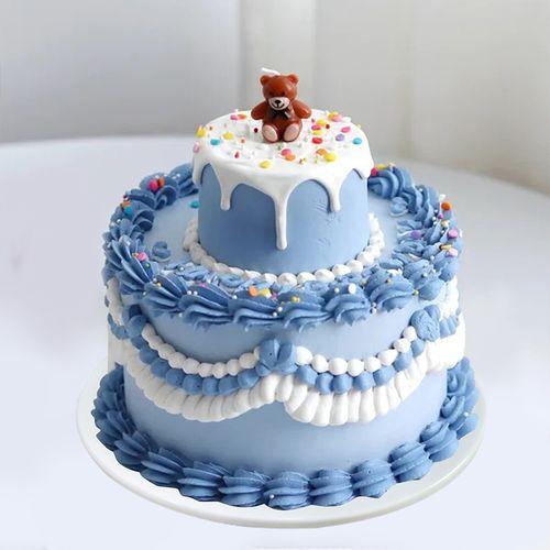生日蛋糕模型仿真2020网红双层卡通裱花创意定制塑胶