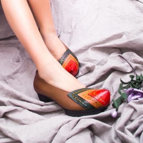 彧然画骨 复古简约甜美森女舒适头层猪皮单鞋跟鞋休闲
