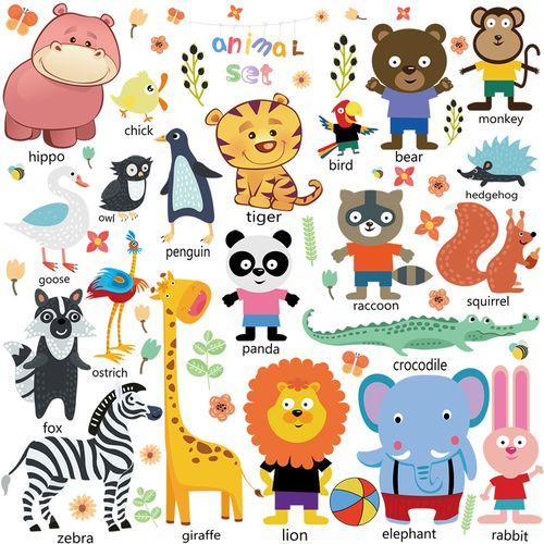 墙贴纸儿童房间装饰品柜子pvc贴画墙画卡通动物diy小