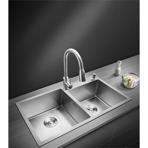 水槽洗菜盆双槽纳丽雅厨房不锈钢家用洗碗池纳米银嵌入式水盆