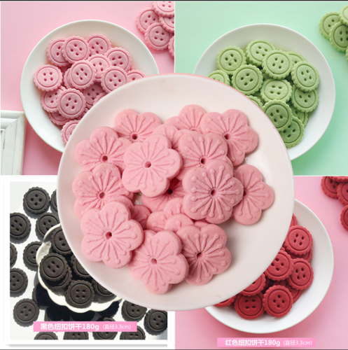 粉色樱花味大圆饼干奥利奥风味慕斯蛋糕装饰摆件樱花