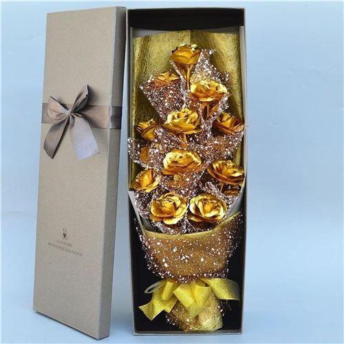 金箔玫瑰花束情205人节意日礼b物女生送老婆男朋友走心的创生礼品