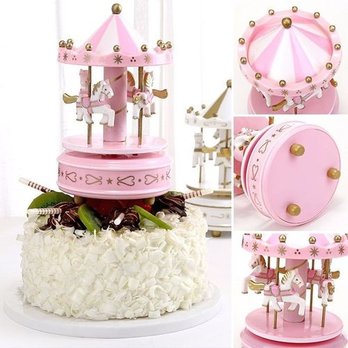 音乐礼品旋转木马烘焙生日少女蛋糕装饰品生日小浮力