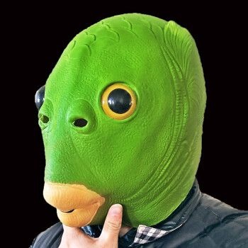 抖音绿头鱼头套 无异味面具可爱搞怪搞笑沙雕怪怪绿网
