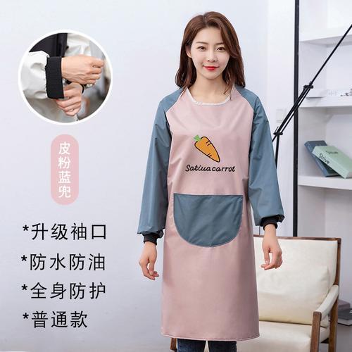 防水长女工作围裙长袖防油定制大工作服厨房男士
