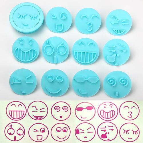 12个表情diy表情包塑料切模笑脸压印模 翻糖蛋糕饼干