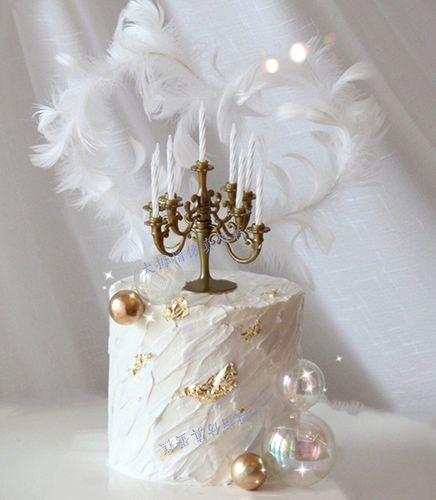 网红新款复古蜡烛台生日蛋糕模型 蜡烛台仿真蛋糕