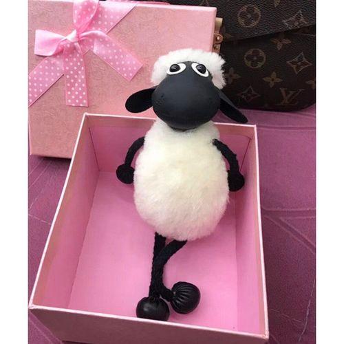 【618活动】小羊肖恩 真羊羔毛羊剪绒皮草挂件小羊肖恩公仔玩偶汽车
