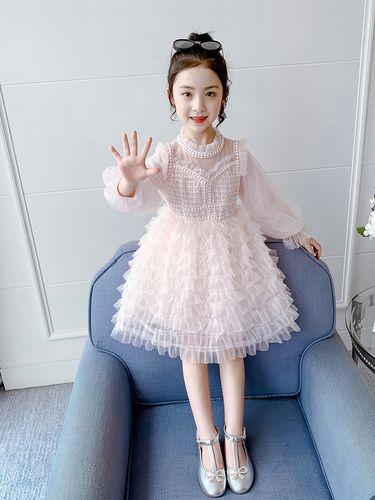 女童连衣裙春装2021新款春季洋气女孩蛋糕裙春秋儿童