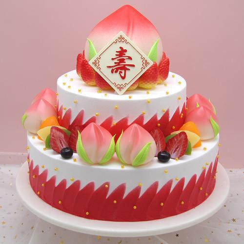 三层寿桃仿真蛋糕模型2020新款老人过寿祝寿水果生日