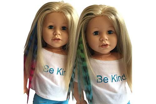 7 厘米)和美国女孩娃娃 - 娃娃假发(斑马印花蓝色/粉色和*/蓝色)