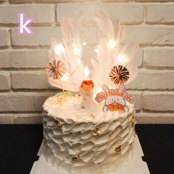 红ins皇冠羽毛生日蛋糕情侣创意个性送女友女朋友女孩女神蛋糕小天使
