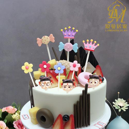 树脂卡通插件蛋糕装饰插件 贝壳王冠糖果生日派对烘焙