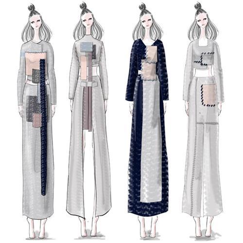 18年新款18服装款式图效果图代画ps定制服装设计手绘