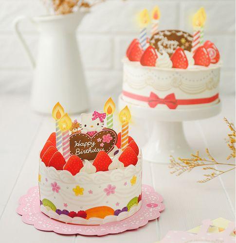 日本授权创意声光立体贺卡音乐灯光高档生日蛋糕祝福