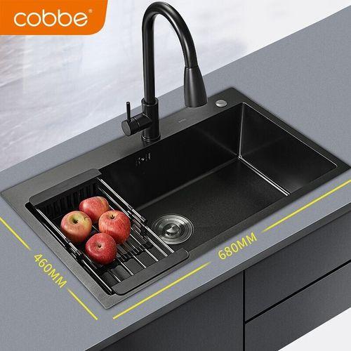 盆水池洗碗池厨房洗菜盆套餐洗菜池 纳米手工槽68x46+黑色抽拉龙头