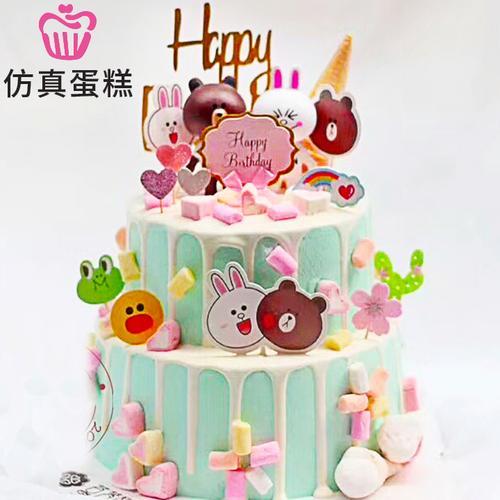 双层浅蓝布朗熊新款可爱仿真生日蛋糕模型样品卡通