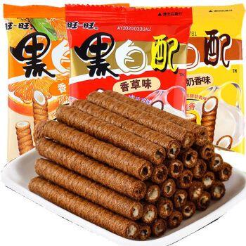 旺旺黑白配18g×20包夹心卷饼干巧克力儿童蛋卷小零食品小吃礼包香草