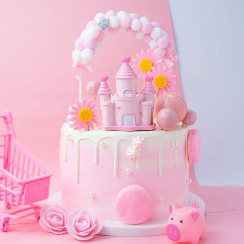 网红少女王子公主粉色城堡摆件520插件生日蛋糕装饰
