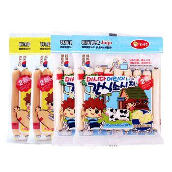 美时多韩国进口真株(健康奶酪鳕鱼肠+智多星鳕鱼肠)4袋组90g*4宝宝