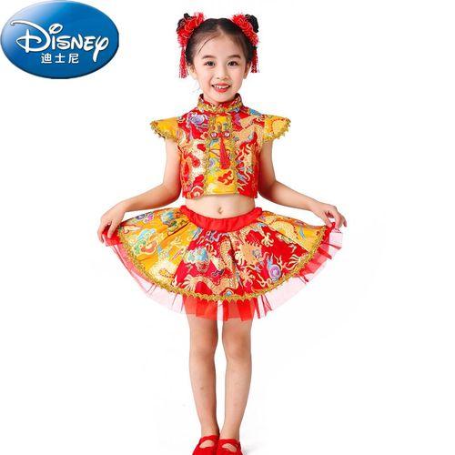 迪士尼(disney)六一演出服装儿童节舞蹈服装2021女孩酷酷的中国红女童