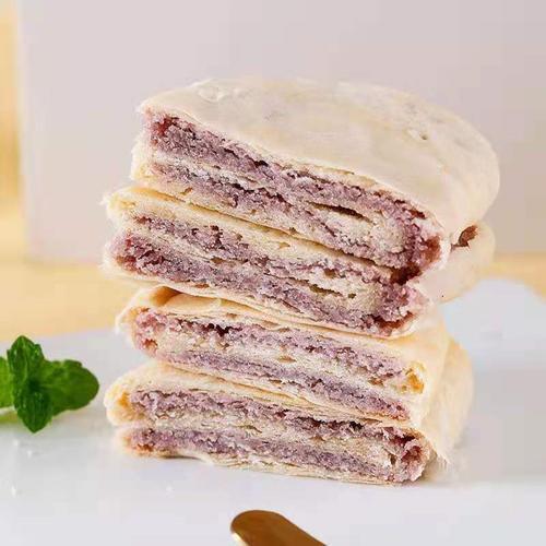 紫薯饼食品绿豆减肥餐馅饼酥饼低糖手工传统整箱老式
