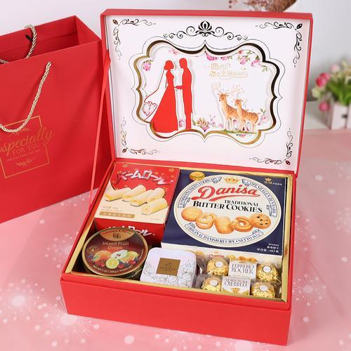 超大号高档翻盖结婚喜糖礼盒成品含糖果订婚伴手礼混合装婚礼回礼