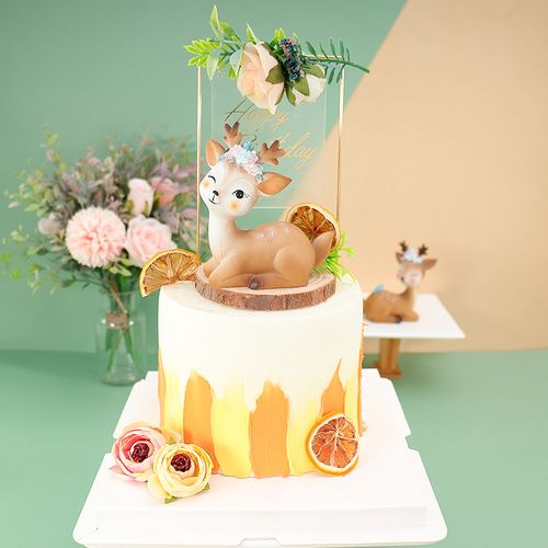 烘焙蛋糕梅花鹿可爱小鹿摆网红ins装饰摆件蛋糕烘焙卡通甜品装扮