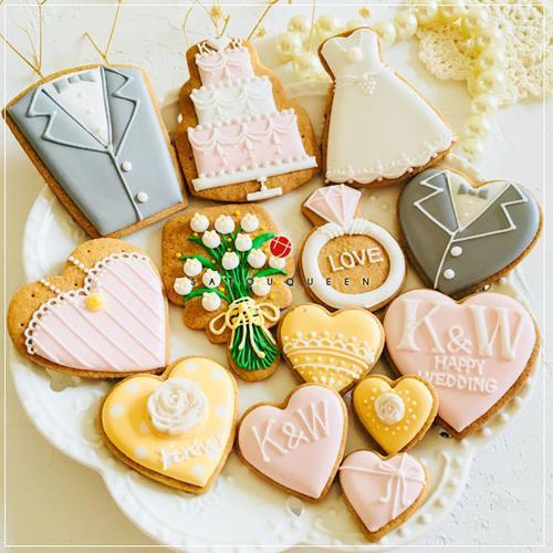 蜜桃粉色婚礼翻糖饼干 森系甜品台签到台欧式糖霜饼干