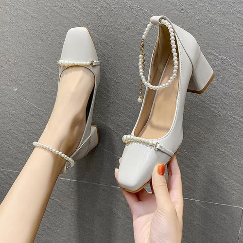 法式高跟鞋女2021年春季新款网红时尚中粗跟单鞋百搭玛丽珍鞋子女