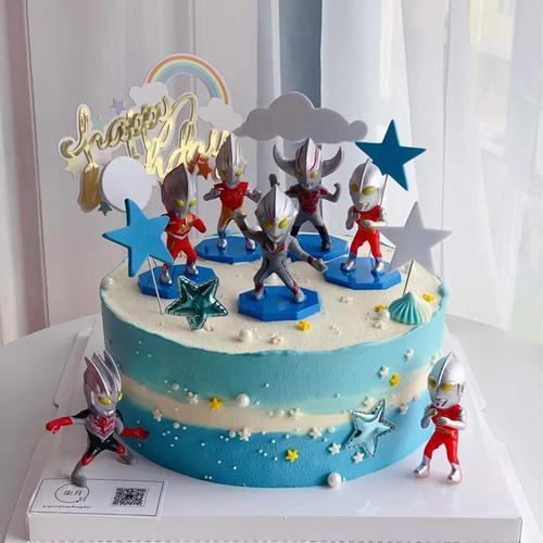 奥特曼蛋糕装饰生日摆件消防员挖土机恐龙汽车儿童小