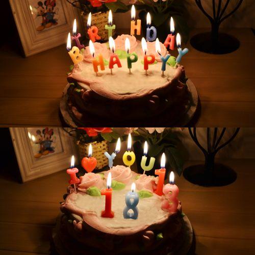 创意生日蛋糕蜡烛 浪漫字母数字蜡烛 彩色生日蜡烛