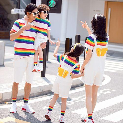 网红法式亲子装夏装t恤一家三口四口2021彩虹条纹纯棉