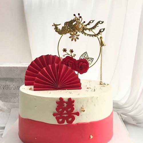 凤凰于飞蛋糕插件订婚结婚玫瑰花烘焙摆件网红流行插