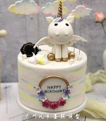 新款翻糖蛋糕模型卡通独角兽生肖牛天使皇冠儿童生日