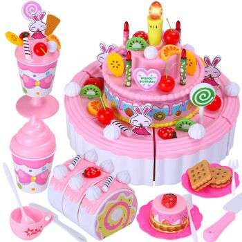 生日蛋糕拼装女孩过家家儿童玩具礼物声光音乐蛋糕摆件水果切切乐切切