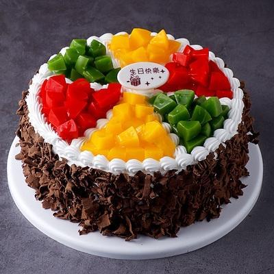 蛋糕模型黑色仿真生日水果蛋糕新款2020巧克力t327碎