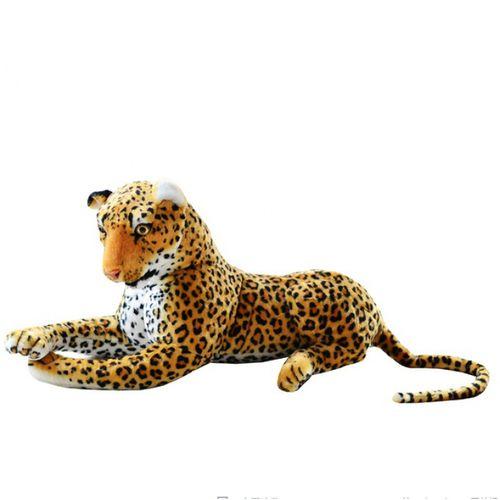 抖音网红同款仿真动物豹子公仔金钱豹毛绒玩具黑豹布.