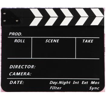 电影卡板导演打板道具拍电影摄影器材 黑白条黑板英文字体