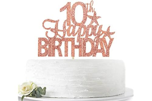 玫瑰金闪光 10 岁生日快乐蛋糕装饰,hello 10,10 岁