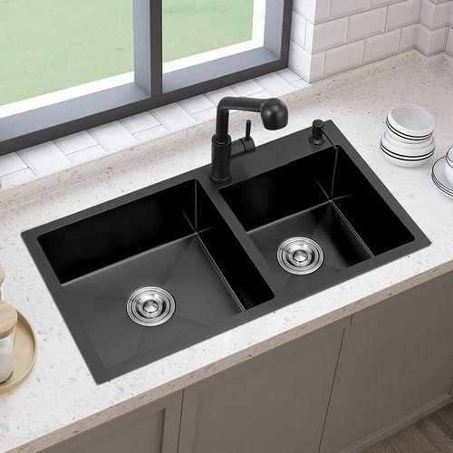 黑色纳米洗菜盆双槽水槽304不锈钢洗碗池厨房家用台下